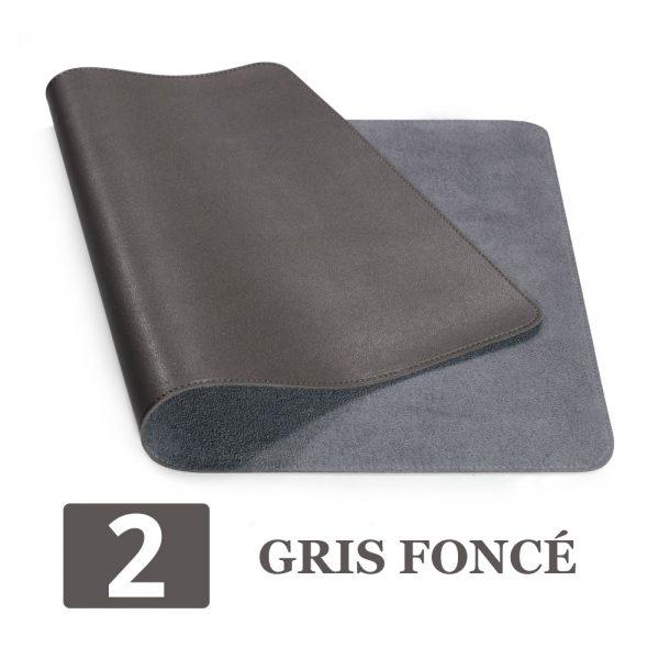 grand tapis de souris ergonomique gris foncé
