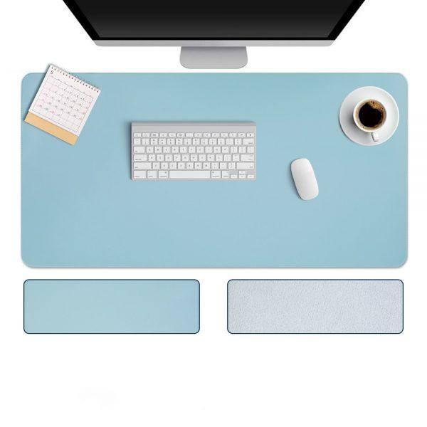 grand tapis de souris ergonomique bleu dessus